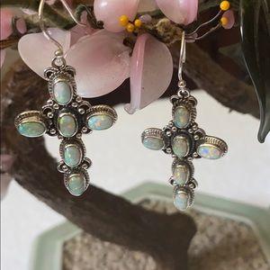 Vintage 925 fire opal cross earrings